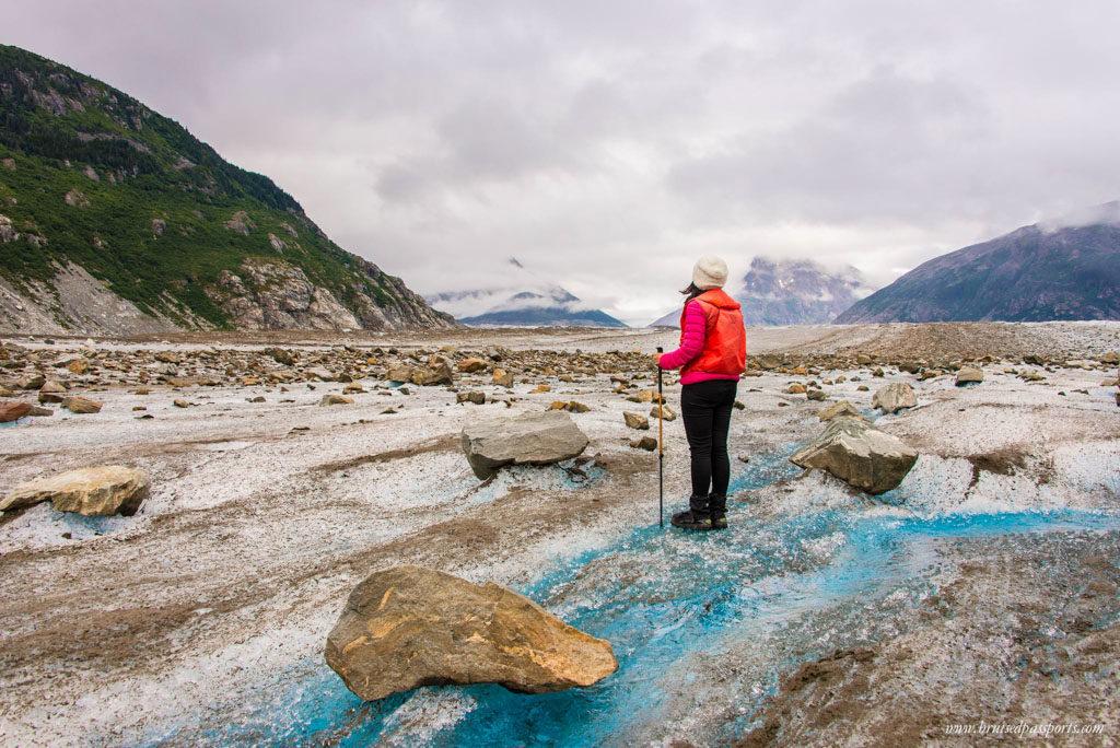 Hiking on a glacier in Alaska