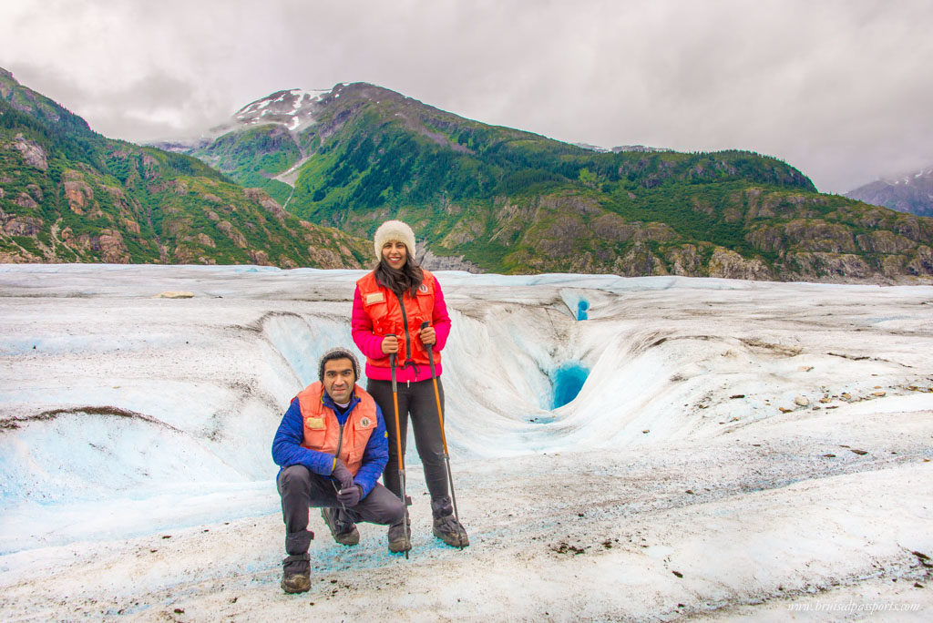 Couple Hiking the Meade Glacier in Alaska