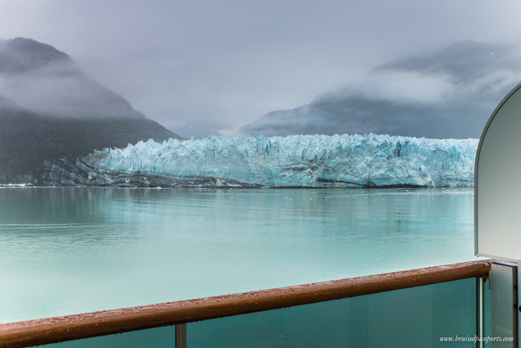 Margerie Glacier from our cabin's balcony on the cruise ship