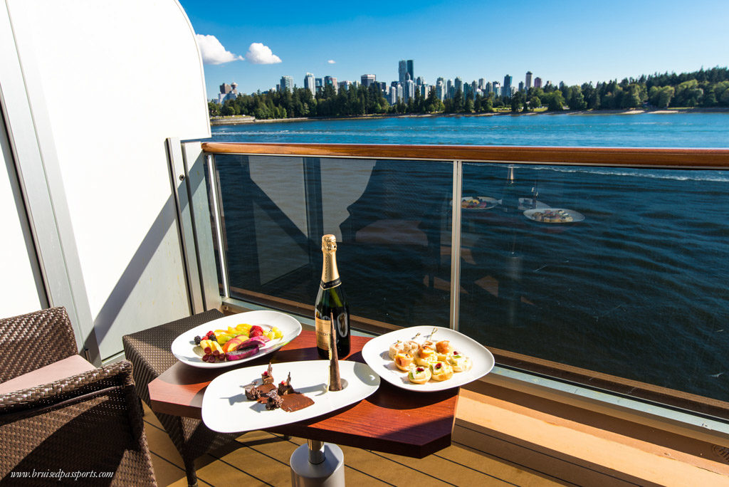 Welcome canapés and champagne while sailing away from Vancouver