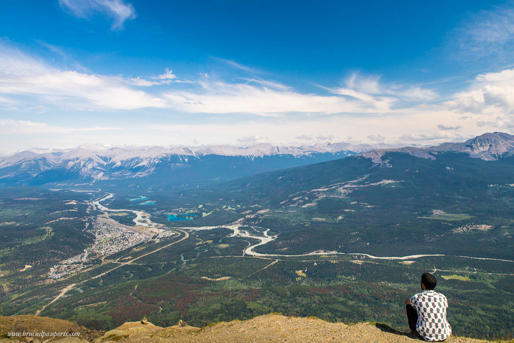 Admiring the view of Jasper town from above!