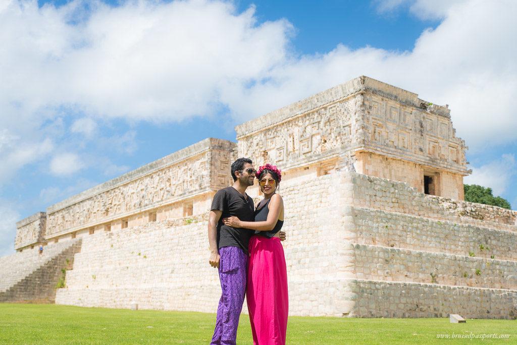 couple at empty ruins of Uxmal near Merida