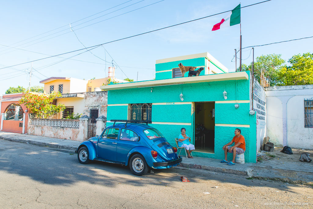 Beetle and coloured houses in Merida Mexico