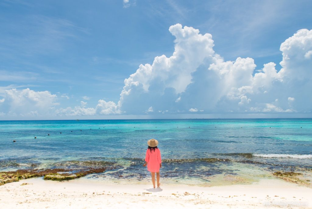 girl at beaches of Playa Del Carmen, Mexico