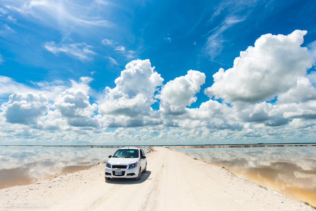 Clouds reflected in the coloured lakes at Las Coloradas in Yucatan
