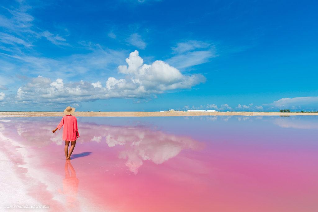 Pink lagoon in Las Coloradas in Yucatan peninsula Mexico