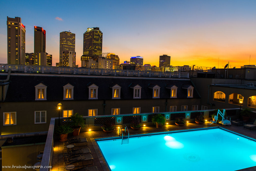Omni Royal Orleans rooftop pool sunset