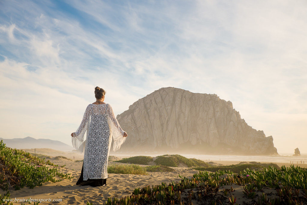Girl at Morro Rock beach at Morro bay California