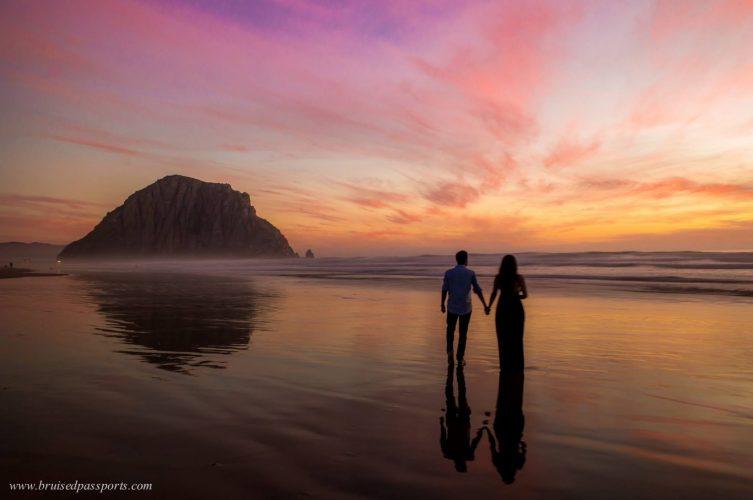 couple at sunset morro bay california