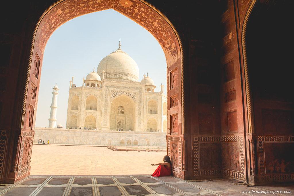 girl at Taj Mahal mosque