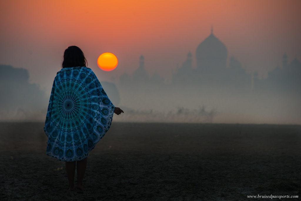 Sunrise behind the Taj Mahal from Hathi Ghat