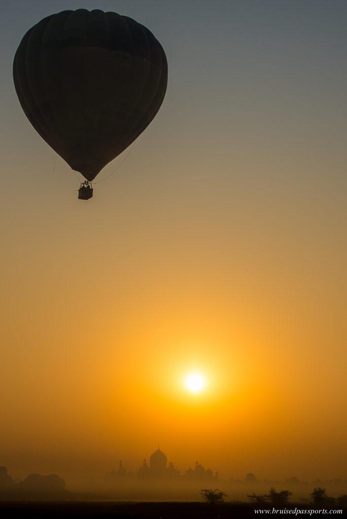 Hot air balloon over Taj Mahal Agra India