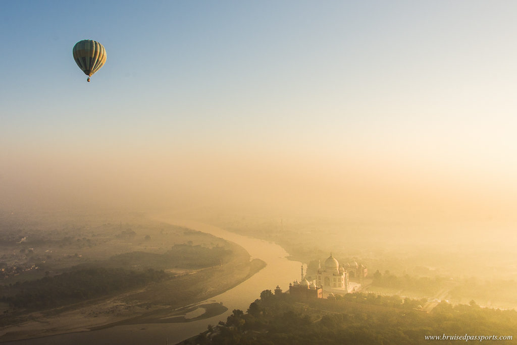 Hot air balloon ride over Taj Mahal and Yamuna river in Agra