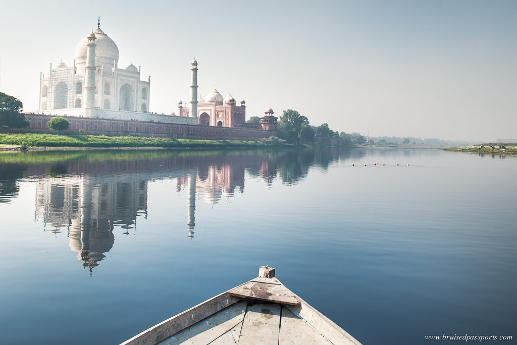 Reflection shot of Taj Mahal in waters of Yamuna river in Agra