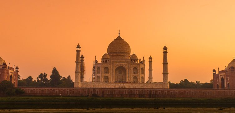 Taj Mahal at sunset from Mehtab Bagh