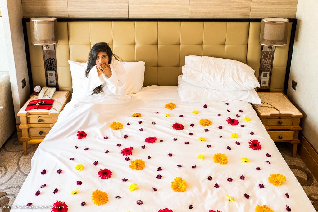 flowers on bed Shangri La Bengaluru