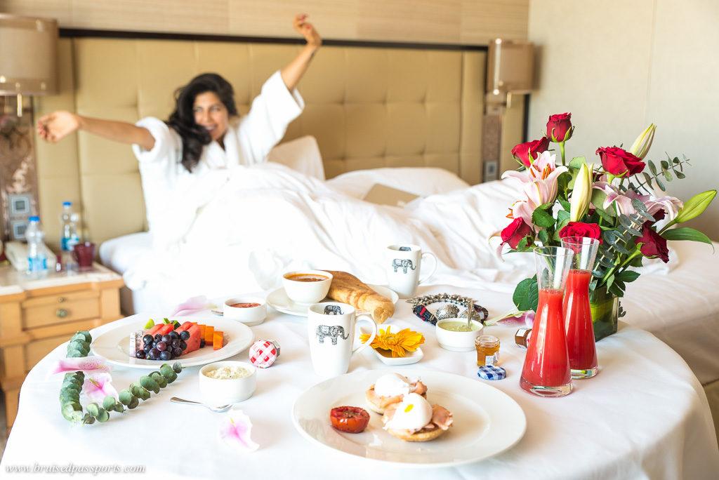 Breakfast in bed at Shangri La Bengaluru