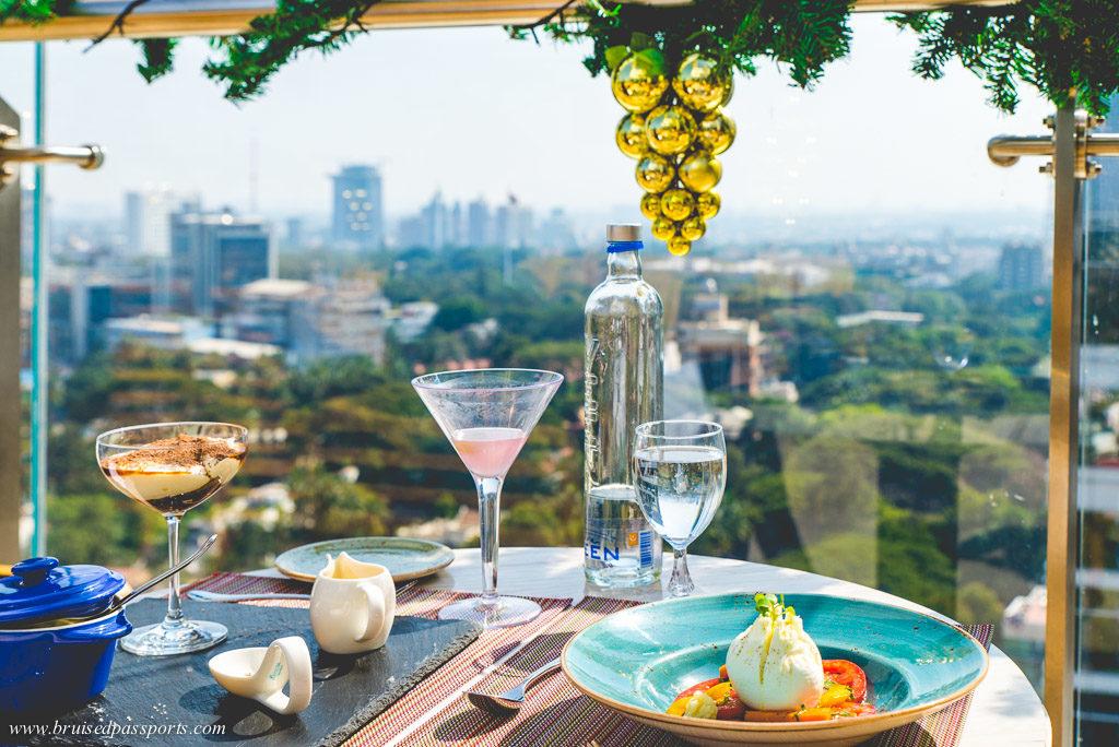 Caprese salad and tiramisu at Caprese Mediterranean restaurant at Shangri La Bengaluru