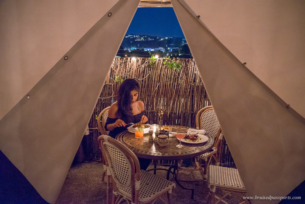 Dining at La Petit Ermitage in West Hollywood