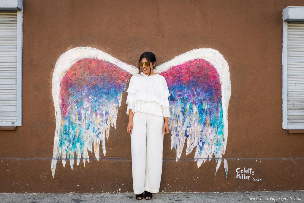 Street Art angel wings west hollywood LA