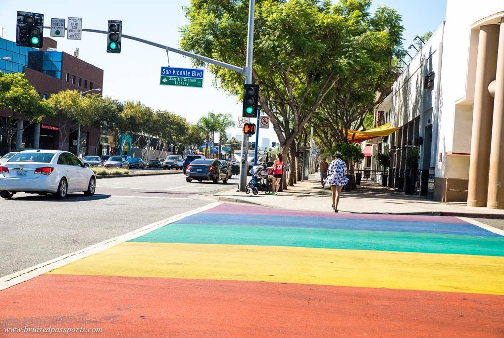 State-sponsored rainbow crosswalks - ony in West Hollywood!