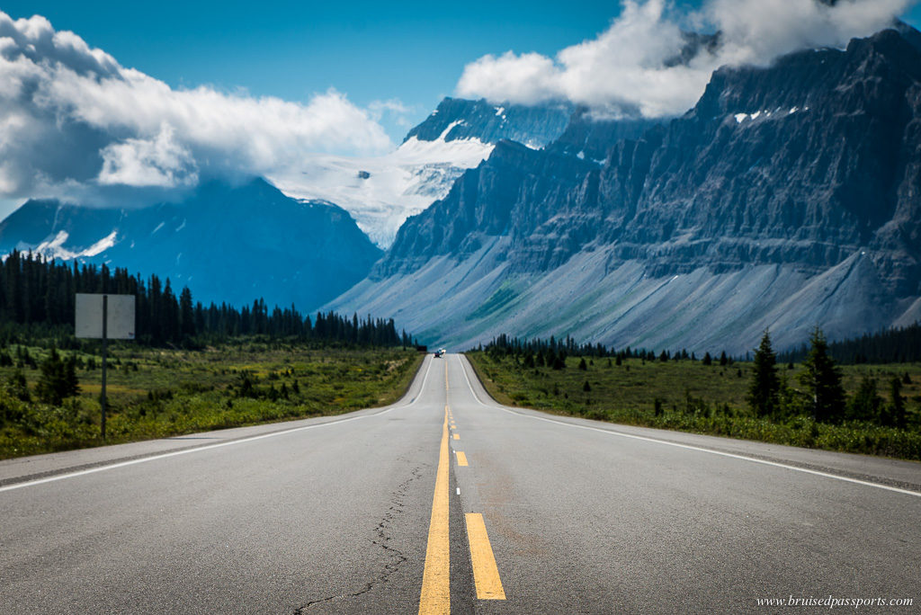 Driving on Icefield Parkway in Canada