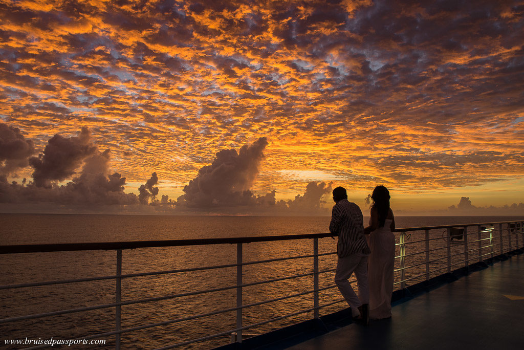 sunset from carnival breeze Caribbean cruise