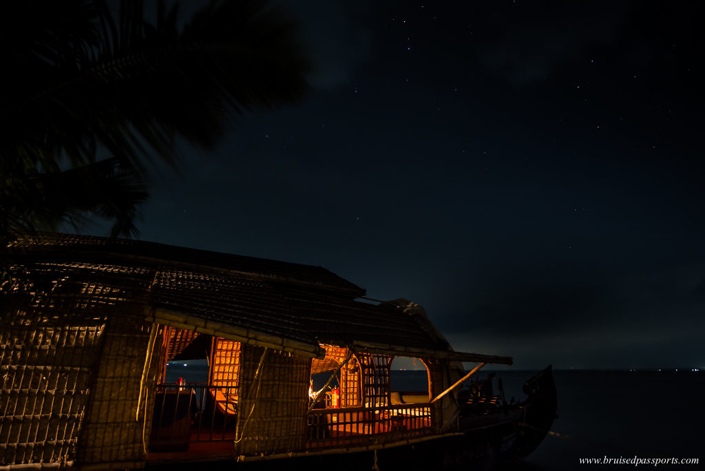 Kerala backwaters houseboat night sky