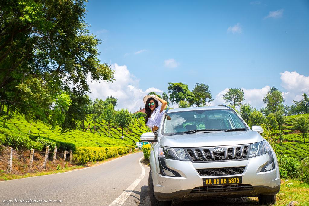 girl in munnar road trip of Kerala