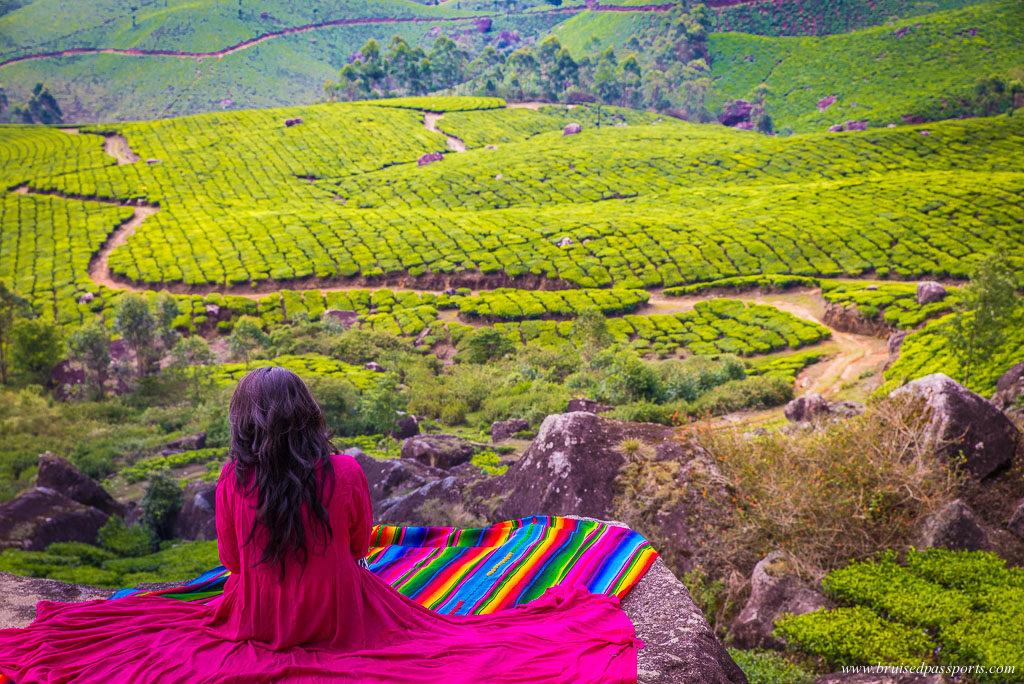 Girl in munnar tea estates kerala road trip