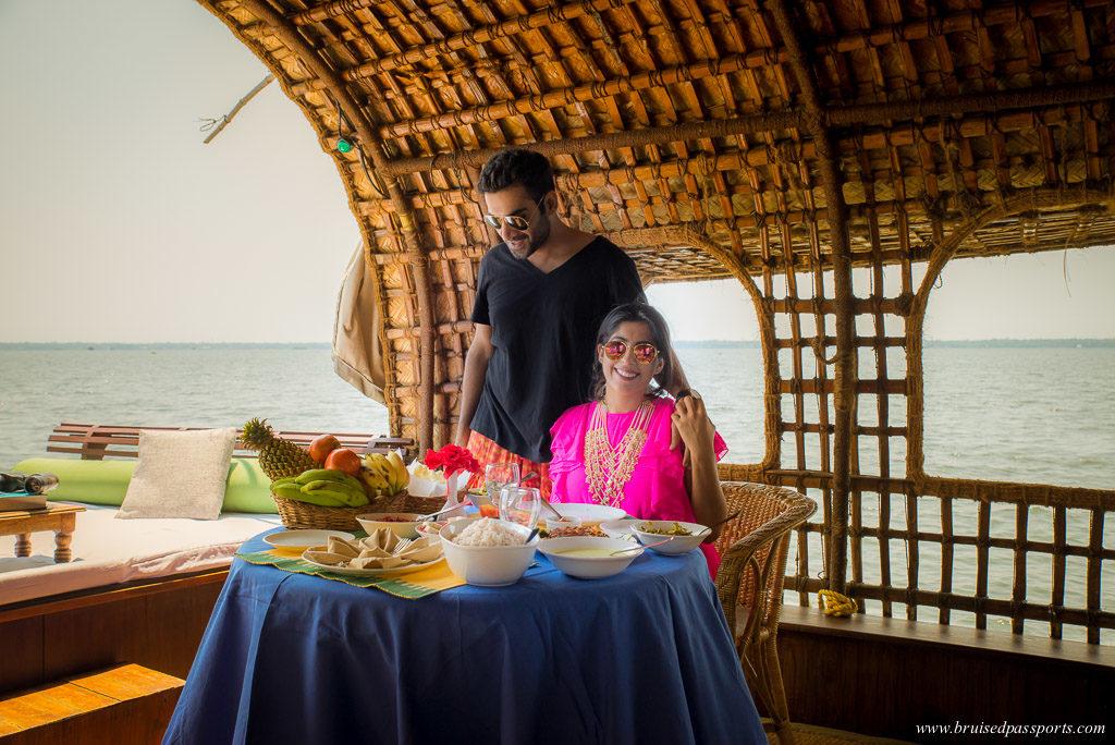 Lunch on board our houseboat in Kerala