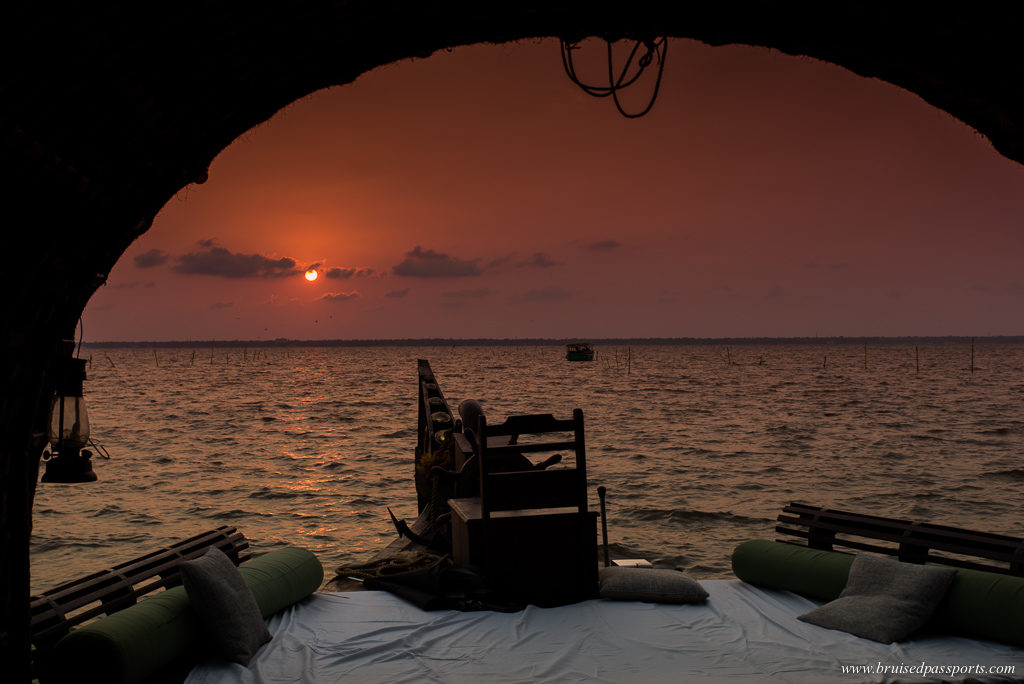 Sunset from a houseboat in Kerala