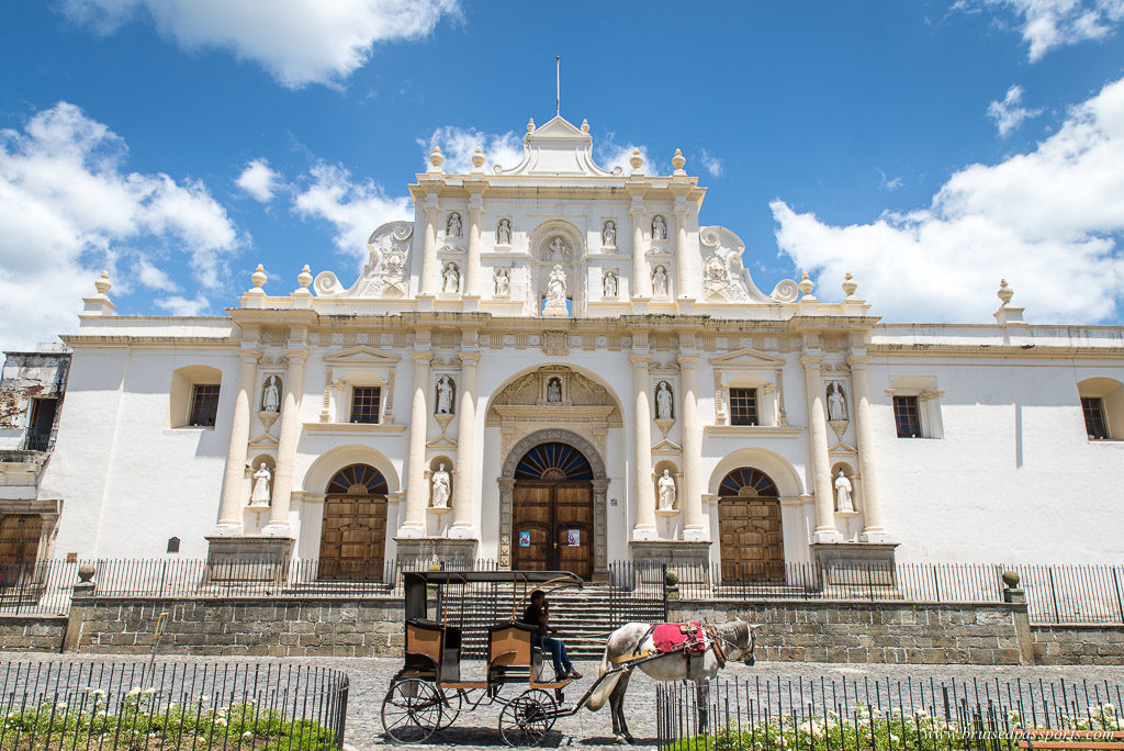 Horse drawn carriage in front of San Jose Cathedral Antigua Guatemala