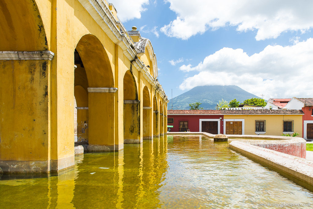 Antigua centre with Volcano in the backdrop