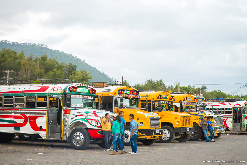 riding a chicken bus in Antigua Guatemala