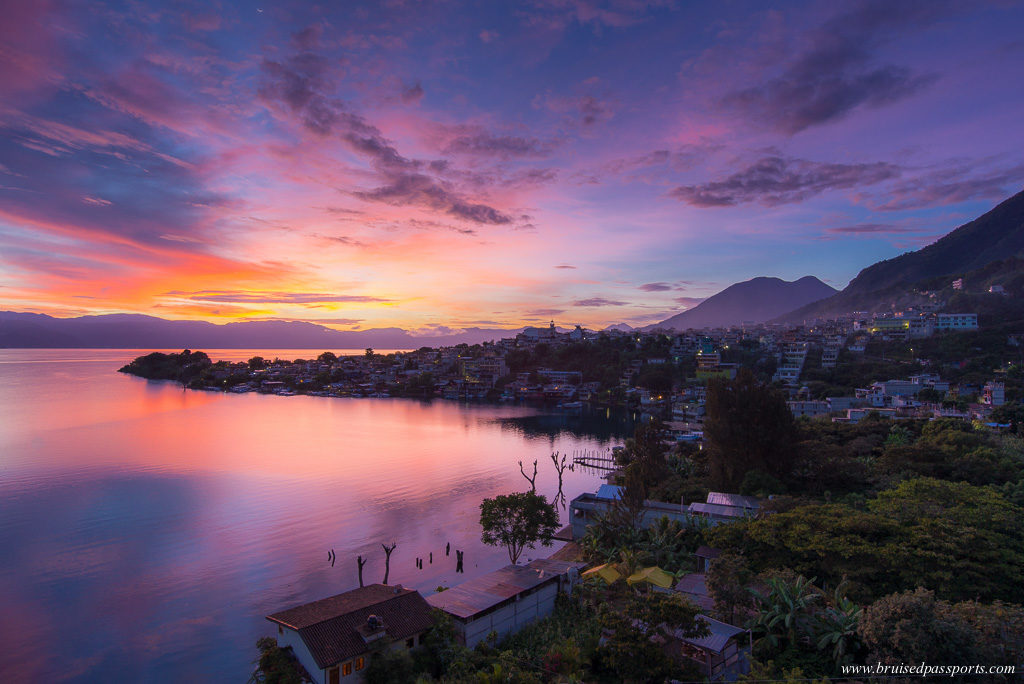 Sunrise over Lake Atitlan from San Pedro La Laguna