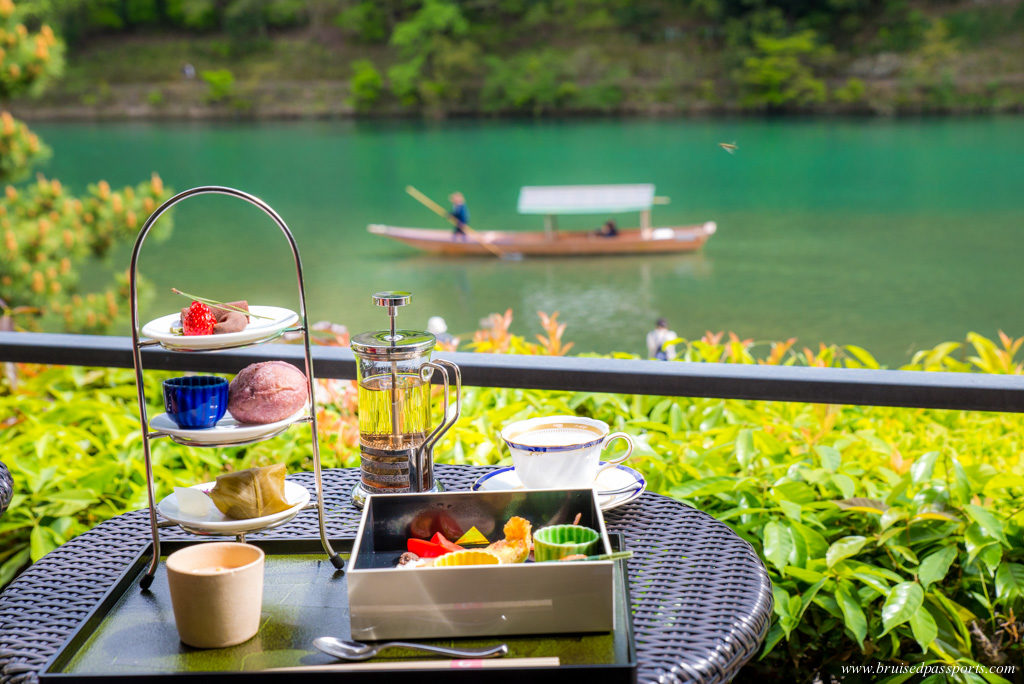 Japanese high tea at Suiran Kyoto overlooking Hozu river