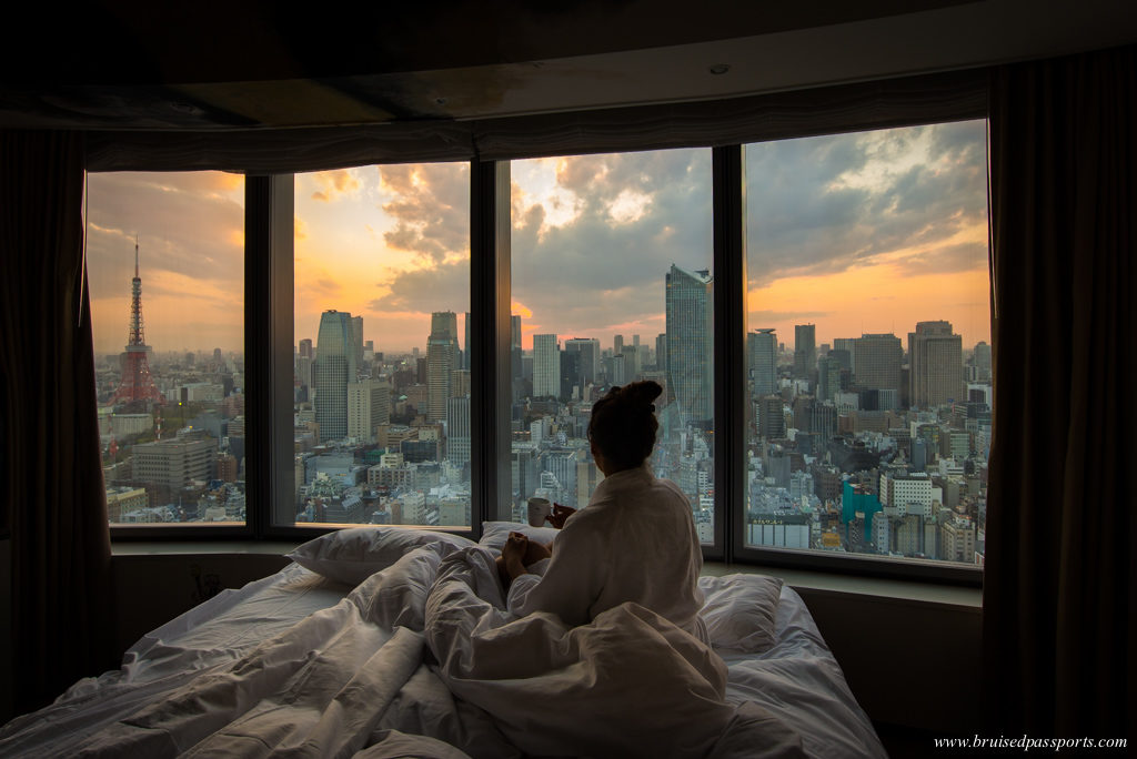 sunset from artist room in Park Hotel Tokyo