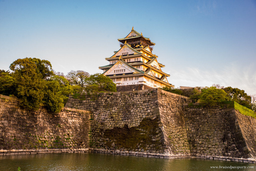 Osaka castle at sunset