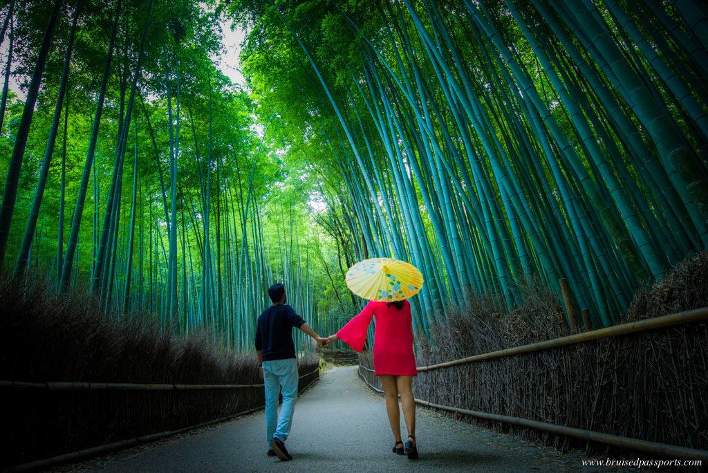 A Couple in Arashiyama bamboo forest in Kyoto