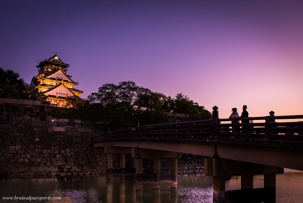 Couple enjoying Sunset at Osaka castle