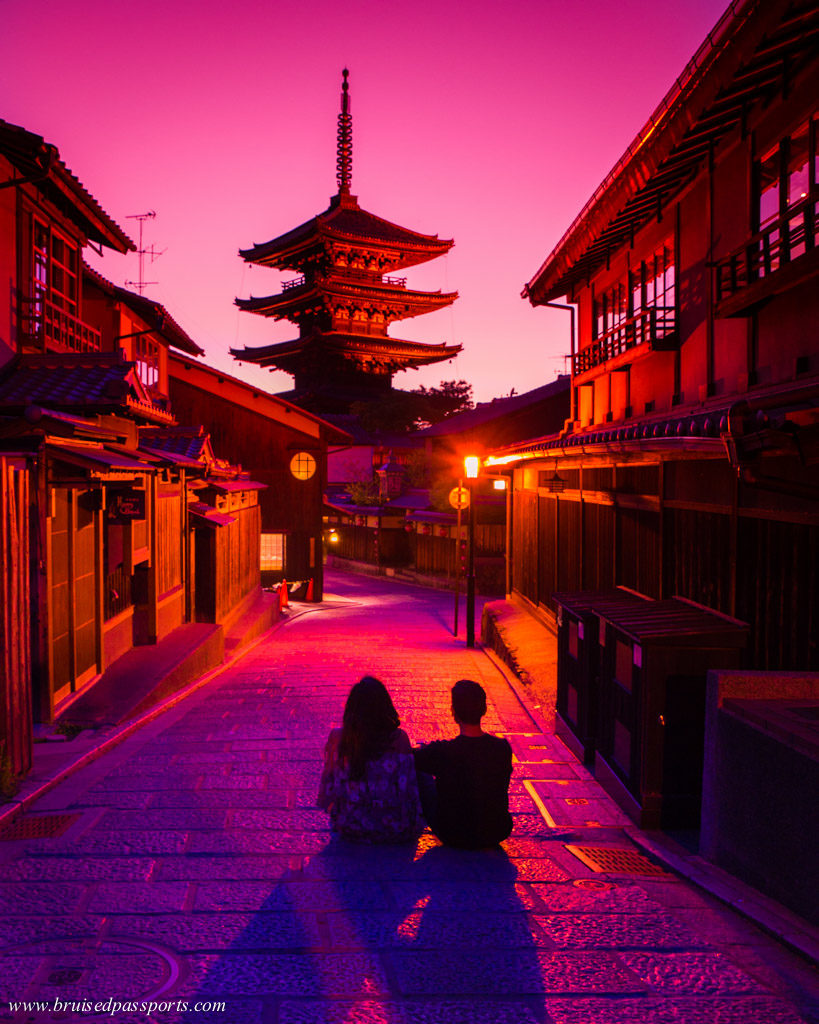 Sunset at Hokan-Ji temple in Gion Kyoto