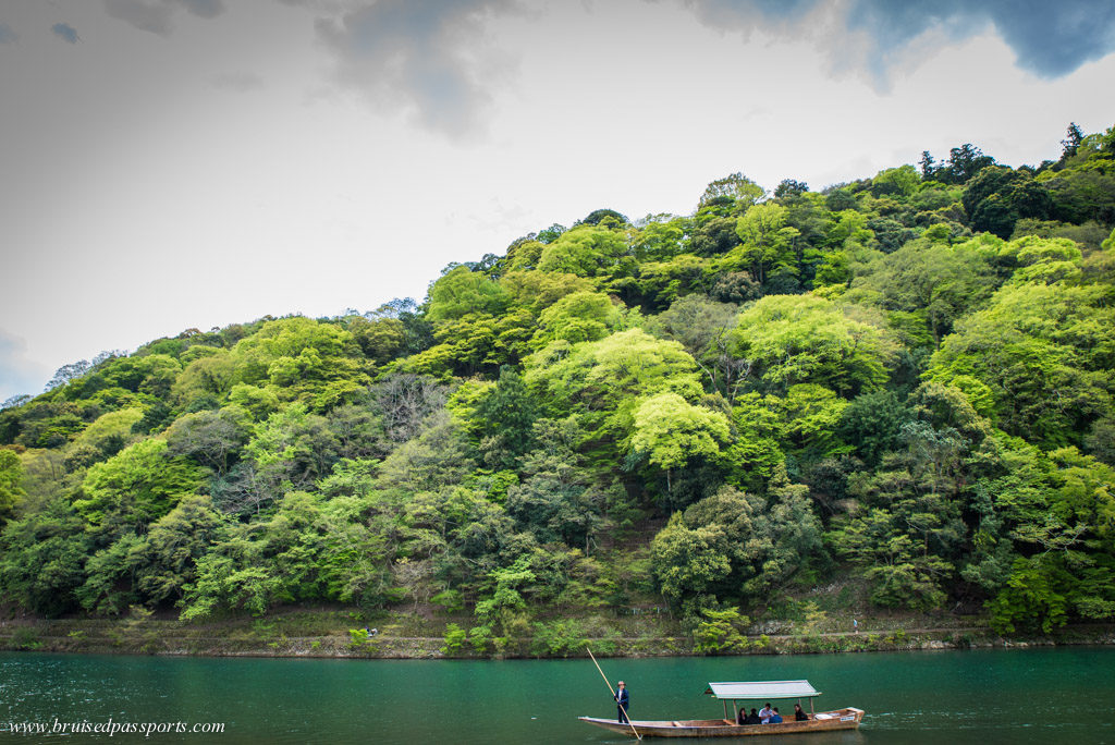 boat on Hozu river in Arashiyama