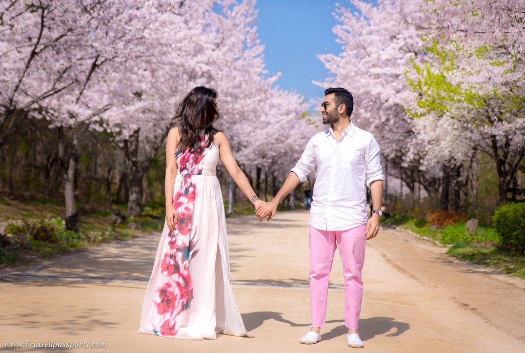 couple in seoul forest cherry blossoms