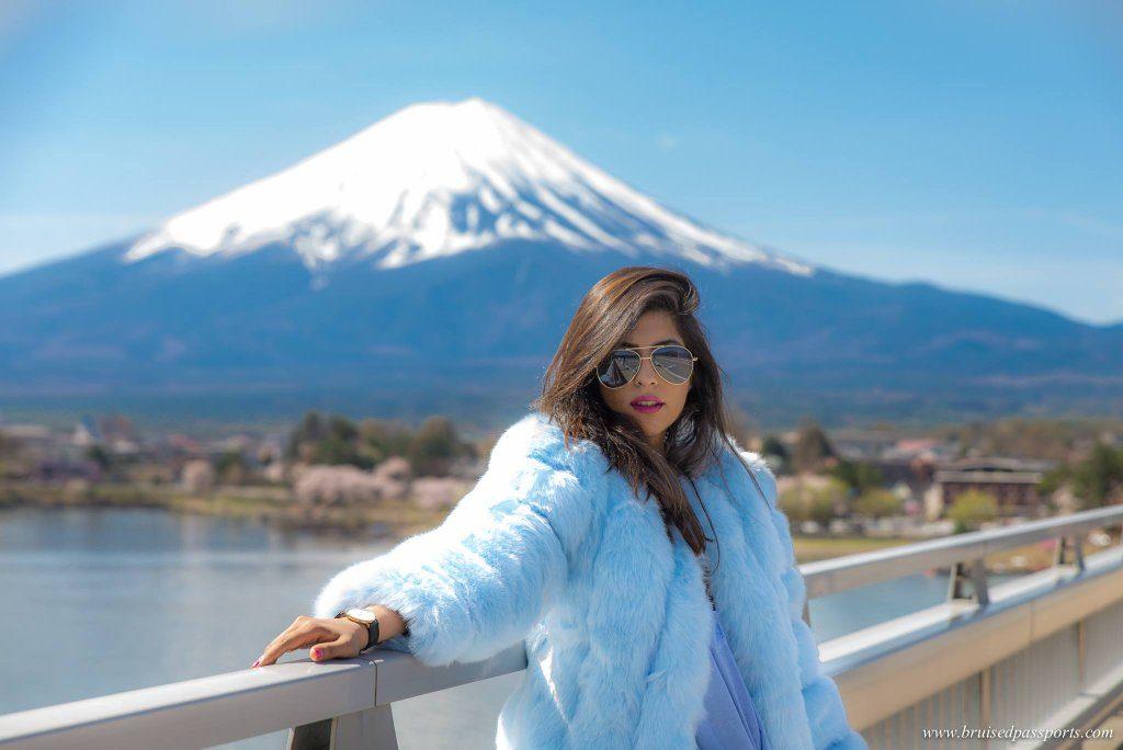 fur coat girl mt fuji cherry blossom season