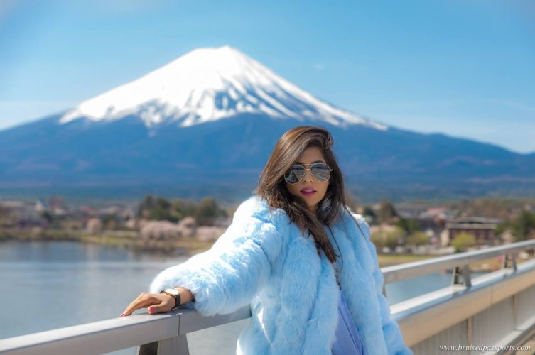 fur coat girl mt fuji cherry blossom season