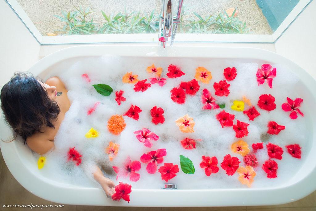 flower bath at Hilton Labriz Seychelles for honeymoon