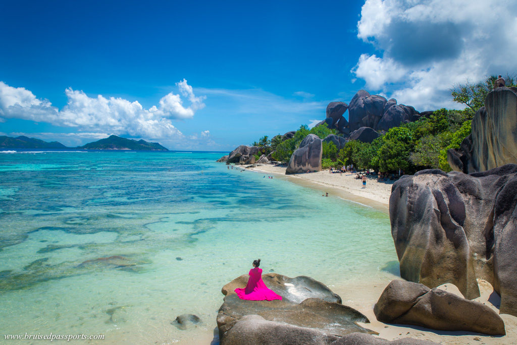 Woman at Anse Source D'Argent in La Digue