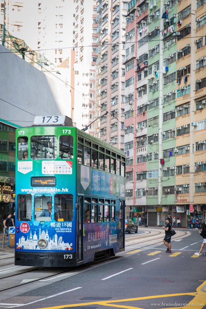 tram on the streets of Hong Kong