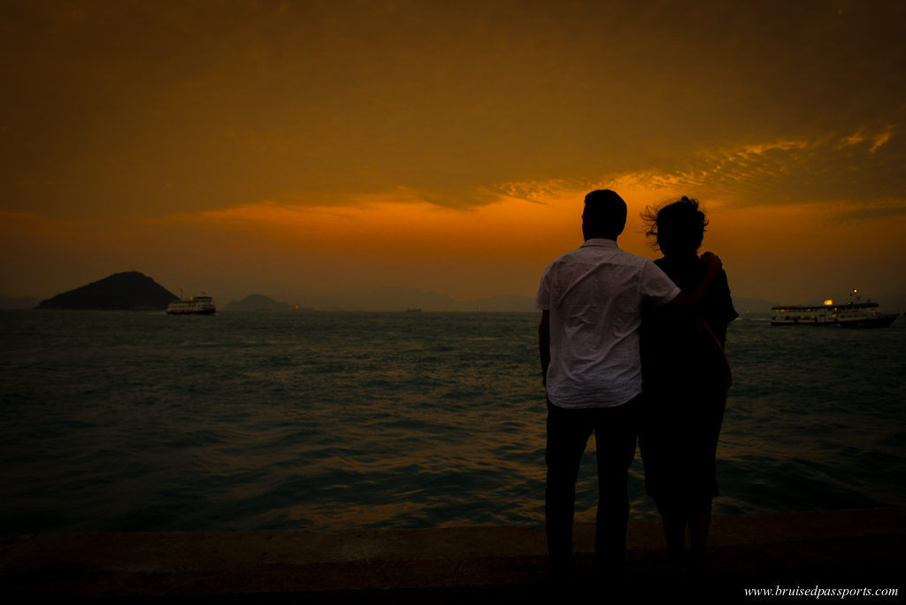 Sunset at Instagram Pier in Hong Kong